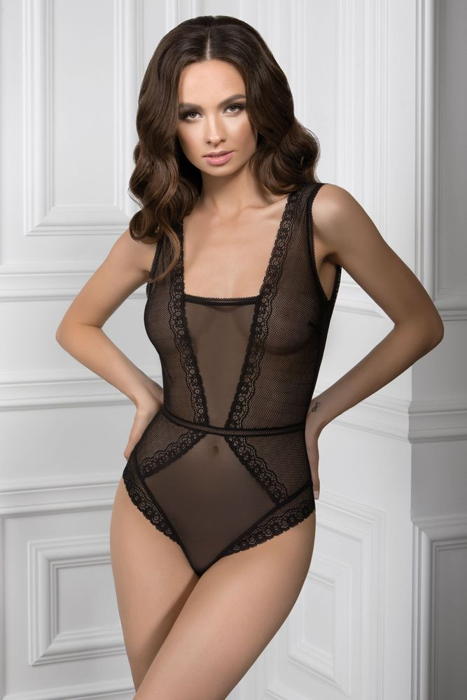 ddd71ce44f37 Прозрачное боди из кружева 8909/18 Devalia black Jasmine lingerie, Черный, M